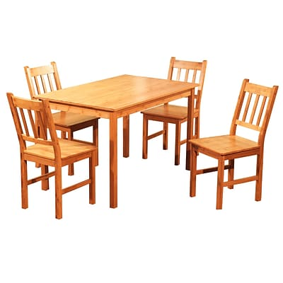 Exceptional TMS 29 X 29 X 46.4 Solid Bamboo 5 Piece Dining Set, Natural
