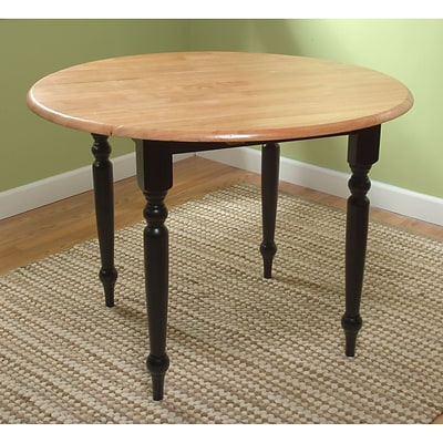 TMS Double Drop Leaf 29 x 40 x 40 Rubberwood Table; Black/Natural