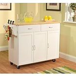 TMS Extra Large Kitchen Cart With Wood Top; White/Natural