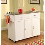 TMS Extra Large Kitchen Cart With Stainless Steel Top; White