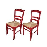 TMS Paloma Woven Rush Dining Chair; Red, 2/Pack
