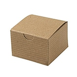 Shamrock 3 x 3 x 2 White Alligator Embossed Tuck-It 1 Piece Folding Gift Box; Brown/Beige, 100/CT
