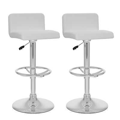 CorLiving™ Leatherette Low Back Adjustable Bar Stools, 2/Set