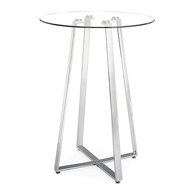 Zuo® Lemon Drop 31 1/2 Tempered Glass Bar Table, Clear