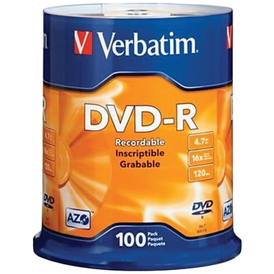 Verbatim® 95102 4.7GB 16X 120 min storage capacity DVD-RS; 100-ct Spindle