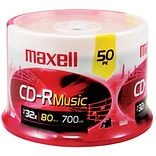 Maxell MXLCDR80MU50PK 700 MB Music CD-R Spindle, 50/Pack
