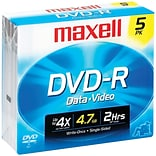 Maxell® 635042/635030/638002 4.7GB 16 X DVD-RS; 5/Pack