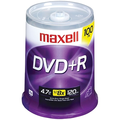 Maxell MXLDVD+R100S 4.7 GB DVD+R Spindle, 100/Pack