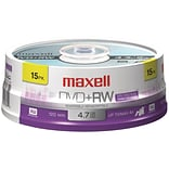 Maxell® 4.7GB DVD+RW; Spindle; 15/Pack