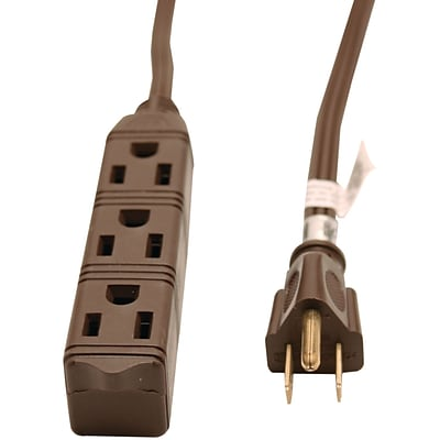 GE 8 3-Outlet Grounded Office Cord, Brown