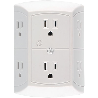 GE 15 Amp 6 Outlet In-wall Adapter, White