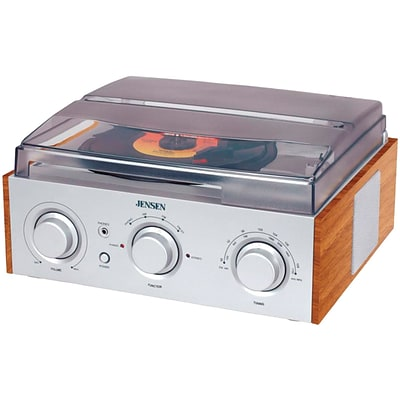 Jensen® JTA-220 Stereo 3 Speed Turntable With AM/FM Receiver and 2 Built In Speakers
