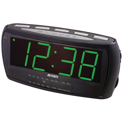 Jensen® JCR-208 AM/FM Alarm Clock Radio With 1.8 Green LED Display