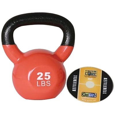 Gofit GF-KBELL25 Premium Vinyl-Dipped Orange Kettlebell With Training DVD; Orange