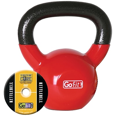 Gofit GF-KBELL15 Vinyl-Dipped Red Kettelbell And Iron Core Training DVD; Red