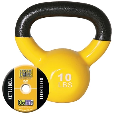 Gofit GF-KBELL10 Vinyl-Dipped Kettelbell And Iron Core Training DVD; Yellow
