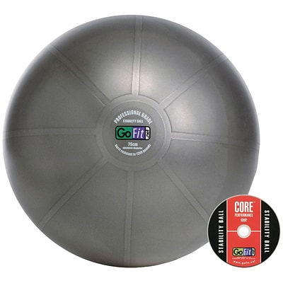 Gofit GF-75PRO 75 Cm Professional Stability Ball And Core Performance Training DVD; Dark Gray