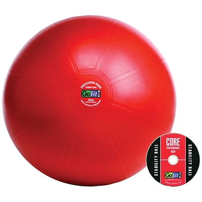 Gofit GF-65PRO Professional Stability 65 Cm Ball And Core Performance Training DVD; Red
