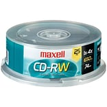Maxell 700MB 4X-12X CD-RW; Spindle, 25/Pack