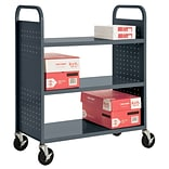 Sandusky® 46H x 39W x 19D Steel Flat Book Truck, 3 Shelf, Charcoal