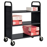 Sandusky® 46H x 39W x 19D Steel Flat Book Truck, 3 Shelf, Black