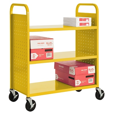 Sandusky® 46H x 39W x 19D Steel Flat Book Truck, 3 Shelf, Yellow