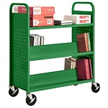 Sandusky® 46H x 39W x 19D Steel Flat Top and Sloped Book Truck, 5 Shelf, Primary Green