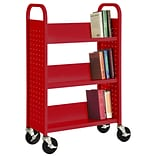 Sandusky® 46H x 28W x 14D Steel Single Sided Sloped Book Truck, 3 Shelf, Red