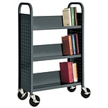 Sandusky® 46H x 28W x 14D Steel Single Sided Sloped Book Truck, 3 Shelf, Charcoal