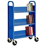Sandusky® 46H x 28W x 14D Steel Single Sided Sloped Book Truck, 3 Shelf, Blue