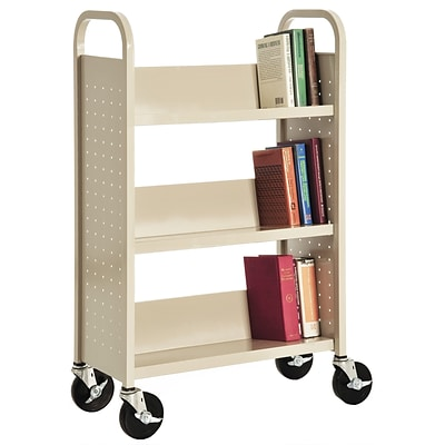 Sandusky® 46H x 28W x 14D Steel Single Sided Sloped Book Truck, 3 Shelf, Putty