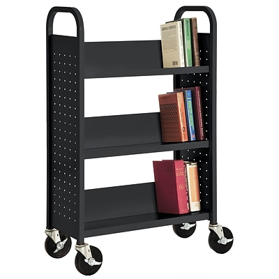 Sandusky® 46H x 28W x 14D Steel Single Sided Sloped Book Truck, 3 Shelf, Black