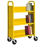 Sandusky® 46H x 28W x 14D Steel Single Sided Sloped Book Truck, 3 Shelf, Yellow