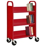 Sandusky® 46H x 18W x 14D Steel Single Sided Sloped Book Truck, 3 Shelf, Red