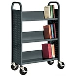 Sandusky® 46H x 32W x 14D Steel Single Sided Sloped Book Truck, 3 Shelf, Charcoal