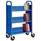 Sandusky® 46H x 18W x 14D Steel Single Sided Sloped Book Truck, 3 Shelf, Blue