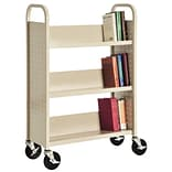 Sandusky® 46H x 18W x 14D Steel Single Sided Sloped Book Truck, 3 Shelf, Putty