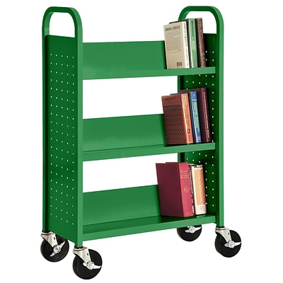 Sandusky® 46H x 32W x 14D Steel Single Sided Sloped Book Truck, 3 Shelf, Primary Green
