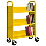 Sandusky® 46H x 18W x 14D Steel Single Sided Sloped Book Truck, 3 Shelf, Yellow