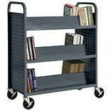 Sandusky® 46H x 39W x 19D Steel Double Sided Sloped Book Truck, 6 Shelf, Charcoal