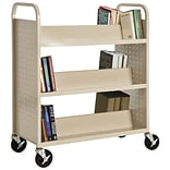 Sandusky® 46H x 39W x 19D Steel Double Sided Sloped Book Truck, 6 Shelf, Putty