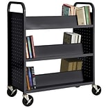 Sandusky® 46H x 39W x 19D Steel Double Sided Sloped Book Truck, 6 Shelf, Black