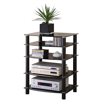Walker Edison Everest Glass Multi-Level Component Stand, Black