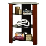 Walker Edison Regal Glass Multi-Level Component Stand, Wood Cherry