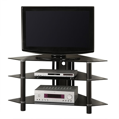 Walker Edison Bermuda 44 Glass Corner TV Stand, Black