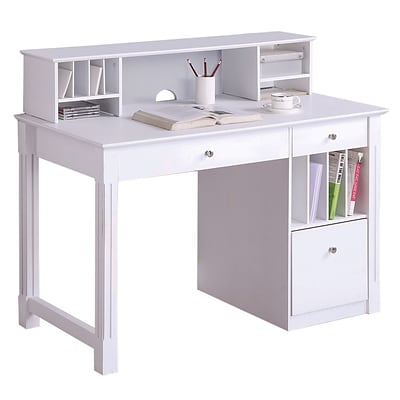 Walker Edison Deluxe 48 x 24 x 30 Wood Storage Desk With Hutch, White