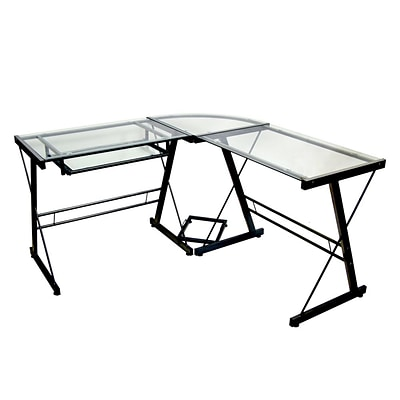 Walker Edison 3-Piece Glass L-Shaped Imperial Computer Desk, Black