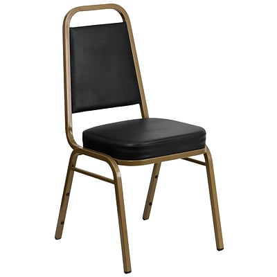 Flash Furniture Hercules Trapezoidal-Back Stacking Banquet Chair, Black Vinyl, 2.5 Seat, Gold