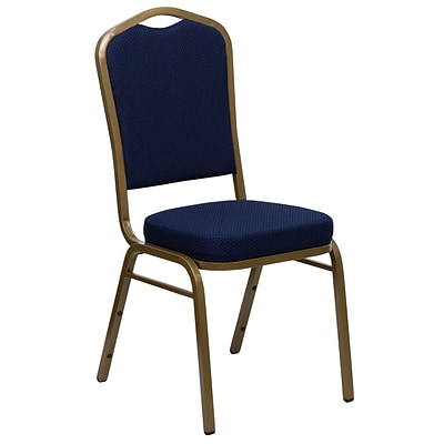 Flash Furniture Hercules Crown Back Stacking Chair, Patterned Navy Blue, 2.5 Seat, Gold Frame,