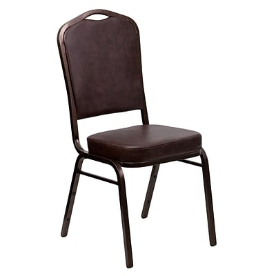 Flash Furniture Hercules Crown Back Stacking Chair w/Brown Vinyl and 2.5 Seat, Copper Frame,